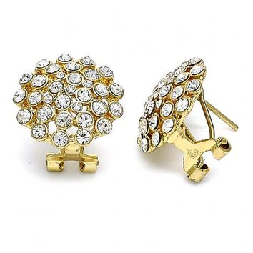 Gold Layered 02.59.0129 Stud Earring, Cluster Design, with White Crystal, Polished Finish, Gold Tone