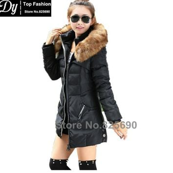 Long New Padded Winter Jacket Women Cotton Women's Winter Jacket Fake Fur Hooded Padded Slim Plus Size Solid Parkas Hooded Coat