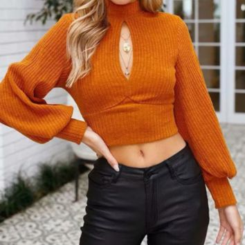 Autumn and winter knitted women's open back bandwidth loose sweater
