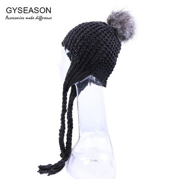 98eddd12aa08c Winter Hat Women Faux Fur Pompom Ball Hat With Ear Flap Acrylic Knit  Headdresses Slouchy Beanies
