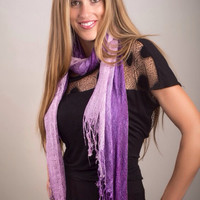Purple Scarf in Ombre, Handmade Fall Scarf for Women fades from Dark Purple to Light Purple, Dark Purple Scarf , Woven Purple Scarf