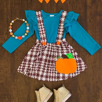 Teal Brown Pumpkin Suspender Skirt Set