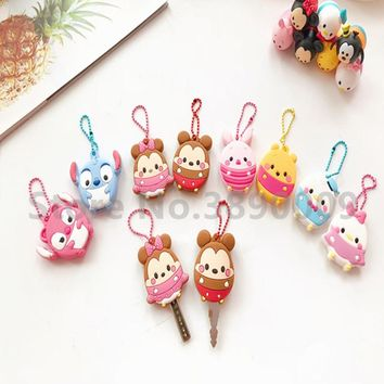 Hot cartoon anime key cover cherry blossom silicone key cover chain  bear rabbit penguin five-pointed star key ring key cover