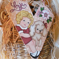 Heart Valentine Hanging With Vintage Style Design | Tole Painted Heart with Girl and Puppy