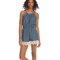 Sequin Hearts® Crochet Trim Chambray Romper at www.herbergers.com