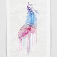 Rachel Caldwell Rainbow Feather Art Print - Urban Outfitters
