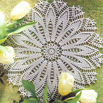 Handmade Round Crochet Doily,  Lace Doily, Table Center, Homedecor, Victorian, Cottage Chic