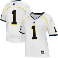 Michigan Wolverines adidas Womens No. 1 Master Replica Football Jersey – White