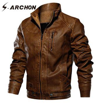 S.ARCHON New Military PU Leather Jacket Men Thick Bomber Tactical Army Pilot Jacket Casual Windproof  Outerwear Coat US Size