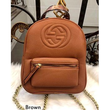 GUCCI tide brand men and women personality fashion chain with backpack brown