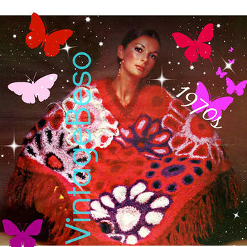 PDF PATTERN • Poncho Crochet Pattern • Ladies Bouquet • Field of Flowers • 1970s Vintage Wrap • Boho Beauty • Feminine • Hippie Chic Lady