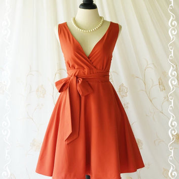 My Lady II Spring Summer Sundress Vintage Design Dark Orange Party Dress Dark Orange Bridesmaid Dress Garden Party Sundress XS-XL