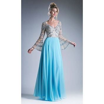 V-Neck Beaded Long Formal Dress Bell Sleeves Sky Blue