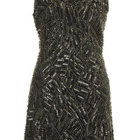 **Online Exclusive Chain Embellished Shift Dress - Black