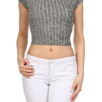 Sexy Round Neck Cap Sleeve Ribbed Sheer Knit Cropped Slim Top Light Sweater