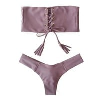 Strapless Lace Up Brazilian Bikini