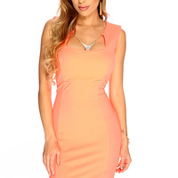 Neon Coral Sleeveless Textured Sexy Party Dress