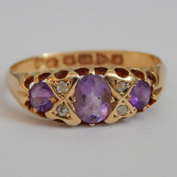 edwardian engagement ring - amethyst and diamond ring in 18ct gold