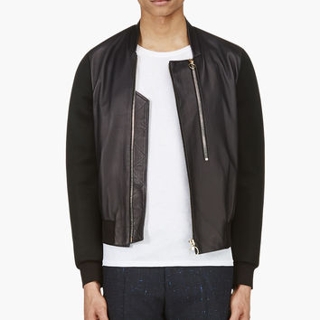 Paul Smith Black Leather And Neoprene Mesh Bomber Jacket