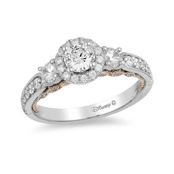 Enchanted Disney Jasmine 1 CT. T.W. Diamond Three Stone Engagement Ring in 14K White Gold|Zales