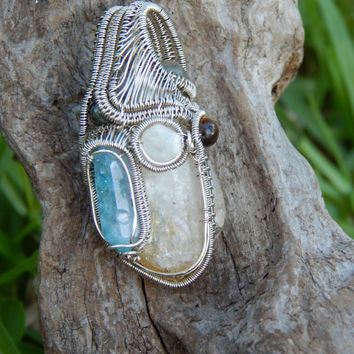 Heady wire wrapped pendant, a unique citrine pendant, heady wrap pendant, heady wrap, mixed gemstones, aqua aura pendant ,heady pendant