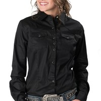 Wrangler® Women's Solid Black with Rhinestone Snaps Long Sleeve Ultimate Riding Western Shirt