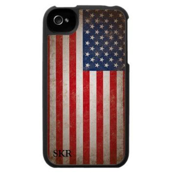 Patriotic Vintage American Flag Monogrammed Case from Zazzle.com