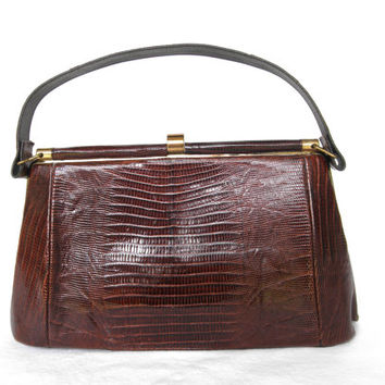 Vintage Lizard Alligator Leather Purse By Ideal Retro Mad Men Handbag Gold Hardware Movie Props Photo Props