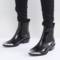 ASOS AMBERLEY Leather Western Chelsea Boots at asos.com