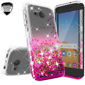 Alcatel Tetra Case Liquid Glitter Phone Case Waterfall Floating Quicksand Bling Sparkle Cute Protective Girls Women Cover for Tetra - Hot Pink