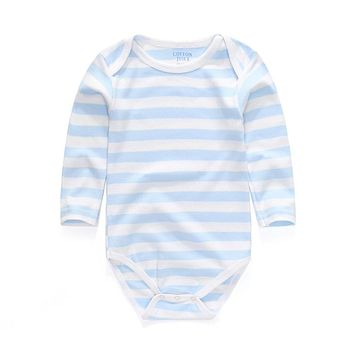 100% Cotton High Quality Stripe Long Sleeves Brief Romper Newborn Unisex Baby Clothes Cheap Baby Rompers