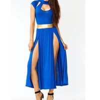 Tanny's Couture LLC — Cutout Slit Cap Sleeved Solid Knit Dress