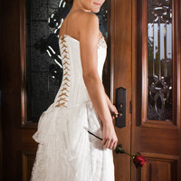 "TITELLE wedding dress ""Shiver Of Revenge"" 2013 / ivory lace & gold / handmade to order"