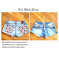 Best Seller, Custom Order Attack Cat Hello Kitty Jean Shorts Made to Order Choose Size teen women fashion.