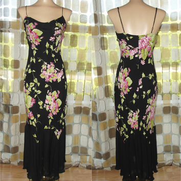 Vintage 90s Retro 30s Betsey Johnson Bias cut Sheer Silk Chiffon Fishtail Hem Harlow Slip Dress Gatsby Gown Sz SMALL