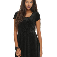 Black Flocked Filigree Skull Dress