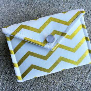 Business Card Holder - Gold Chevron on white