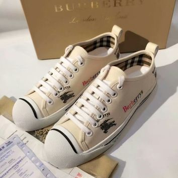 Burberry retro letters embellished neon 9 colors English add vitality canvas sneakers F-RCSTXC