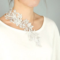 silver lace necklace -  floral plants bib / choker - gothic bobo vintage - wedding bridal necklace