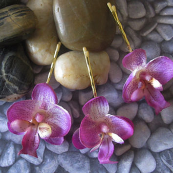 Mini PURPLE Orchids SET OF 3 bobby pins flowers-hair clips - Weddings -1 1/2 inches