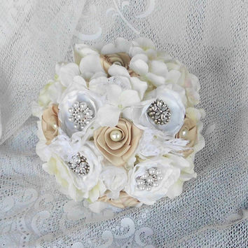 "Brooch Bouquet, Bridal, Wedding, Rhinestone, Vintage, Ivory, White, 8"" Romantic, Bridesmaid, Fabric Flower Bouquet, weddings, Lace, Pearl"