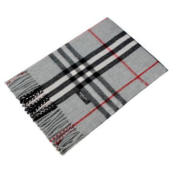 ONETOW Autumn and winter new large plaid cashmere scarf tassels cashmere Light gray