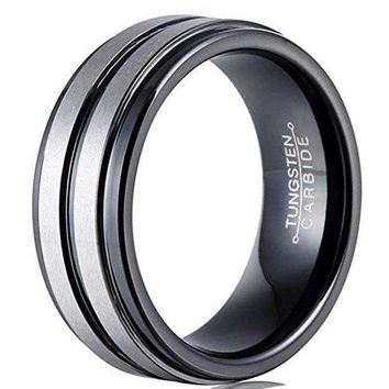 CERTIFIED 8mm Black Silver Tungsten Carbide Ring Simple Style Groove Wedding Jewelry Engagement Promise Band for Him Matte Finish