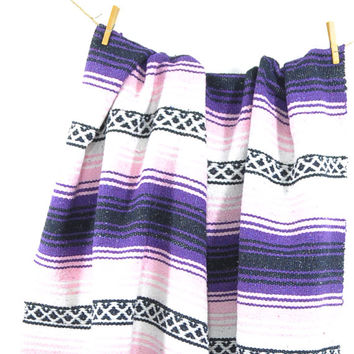 Vintage Mexican Blanket • Serape Saltillo • Western Southwestern Blanket • Indian Blanket • Vintage • Mexican Pink + Purple Throw