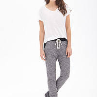 LOVE 21 Heathered Colorblock Knit Joggers Black/Ivory
