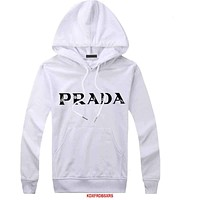 Prada Women Men  Casual Long Sleeve Top Sweater Hoodie Pullover Sweatshirt