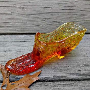Ladies Vintage Amberina Glass Slipper Shoe Daisy and Button
