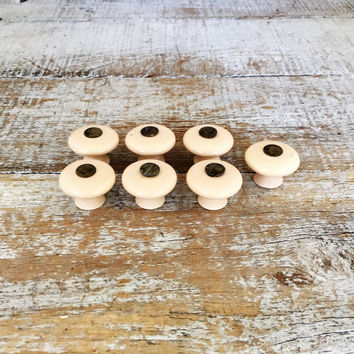 Drawer Knobs 7 Drawer Pulls Ceramic and Brass Knobs Mid Century Small Tan Drawer Knobs Cabinet Drawer Knobs Dresser Drawer Knobs Unique
