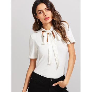 Tie Neck Ribbed Solid Tee