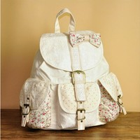 Fashion Cotton Lace Backpack Bag Bow